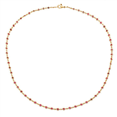 Ruby Station Necklace in Yellow Gold