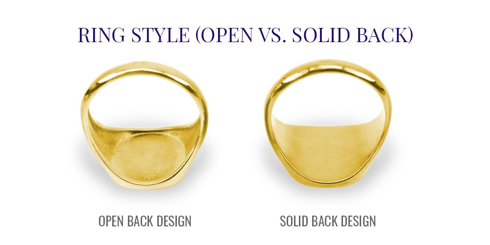 Signet Ring Open Back Solid Back Style Examples