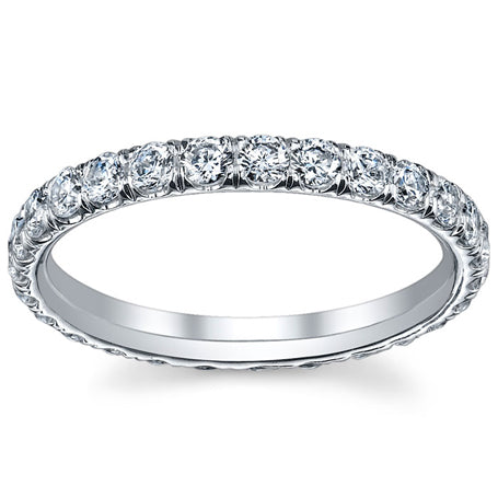 Single Row Diamond Pave Eternity Band U Setting