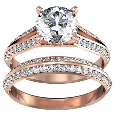 Split Shank Engagement Ring & Matching Wedding Band