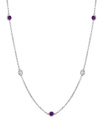 Amethyst Station Necklace with Bezels