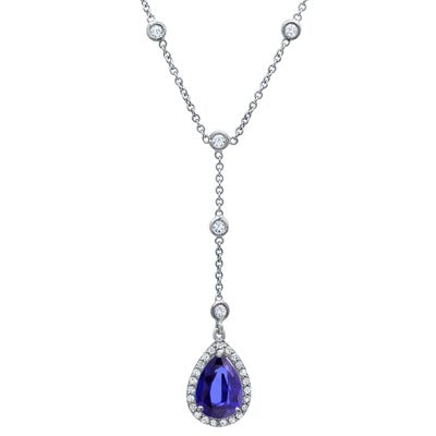 Pear Gemstone and Diamond Necklace