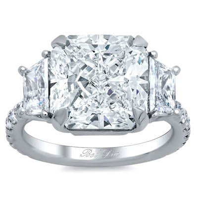 Radiant Three Stone Engagement Ring