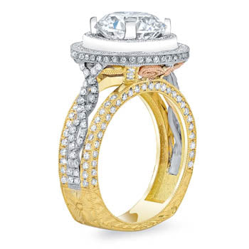 Tri-Color Double Halo Engagement Ring Side