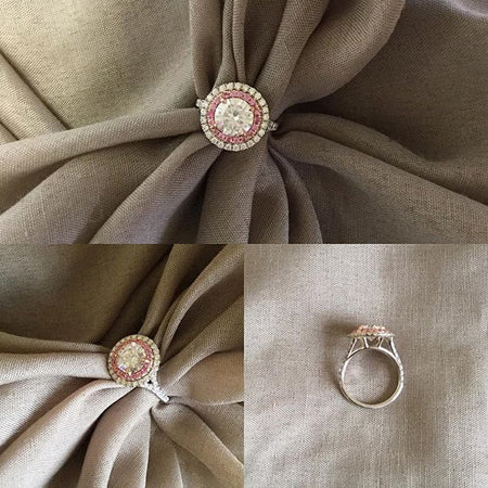 Custom Pink Sapphire Double Halo Engagement Ring