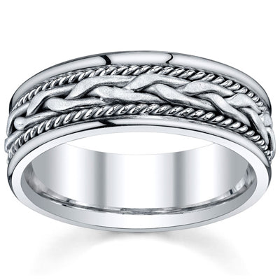 Men's Handmade Wedding Rings White Gold