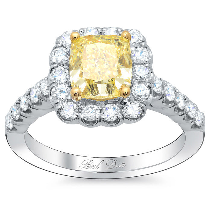canary cushion engagement ring