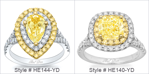 Yellow Diamond Double Halo Engagement Rings