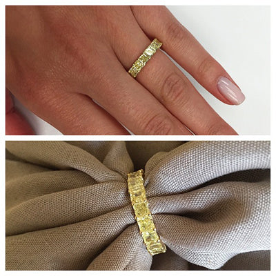 Yellow Diamond Anniversary Rings