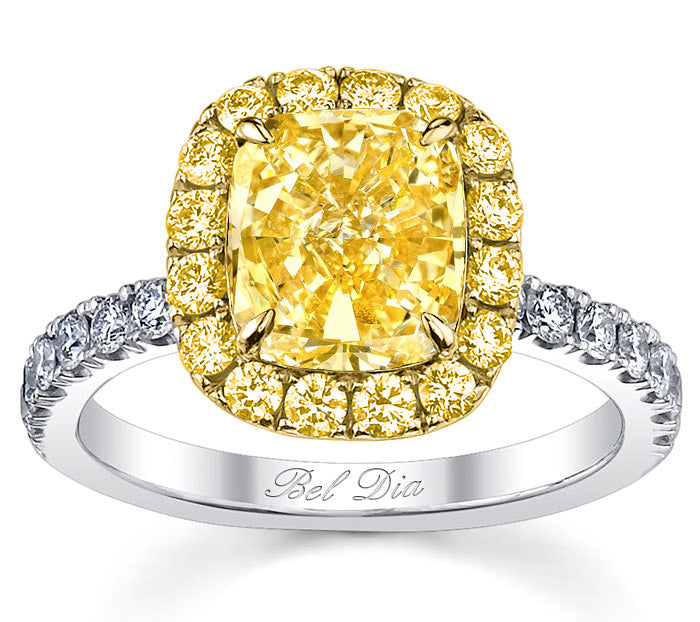 fancy yellow diamond cushion ring