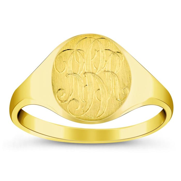 Yellow Gold Oval Custom Signet Rings