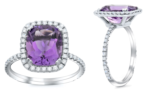 Style # FR-01 shown with an amethyst center stone.