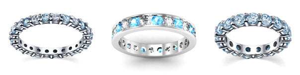 Aquamarine eternity rings