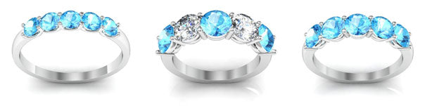 Aquamarine five stone rings