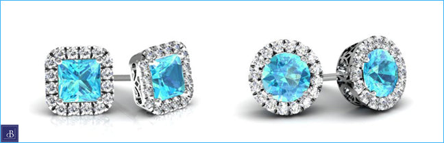 halo stud earrings aquamarine