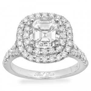 double halo asscher engagement ring