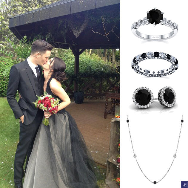 Shenae Grimes' gorgeous black Vera Wang wedding dress would look lovely with these classic black and white diamond pieces.