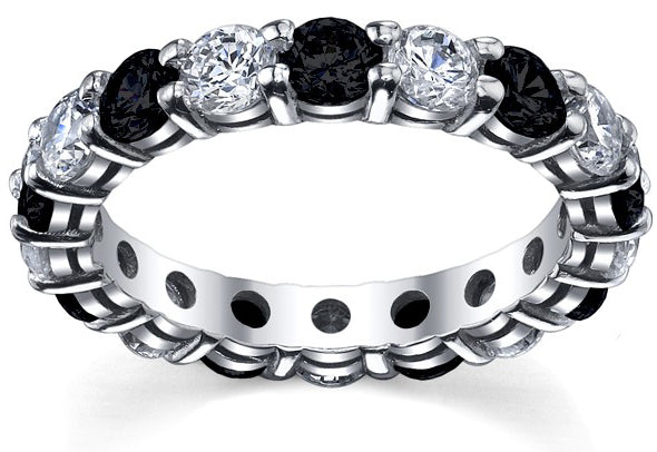 eternity ring with black diamonds and white diamonds