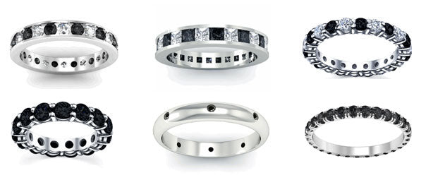 Black diamond eternity rings