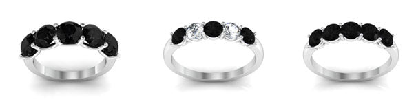 Black diamond five stone rings