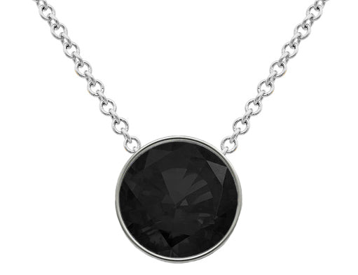 Black Diamond Floating Solitaire Pendant - Bezel