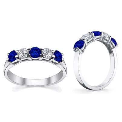 five stone ring with blue sapphires