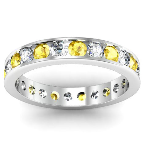 Yellow Sapphire and Diamond Channel Set Eternity