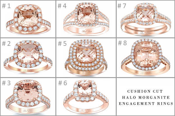 cushion morganite halo engagement rings