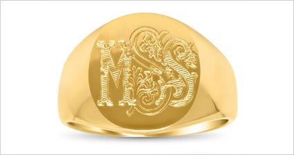 Hand engraved gold signet signing ring with vintage flourish monogram from deBebians
