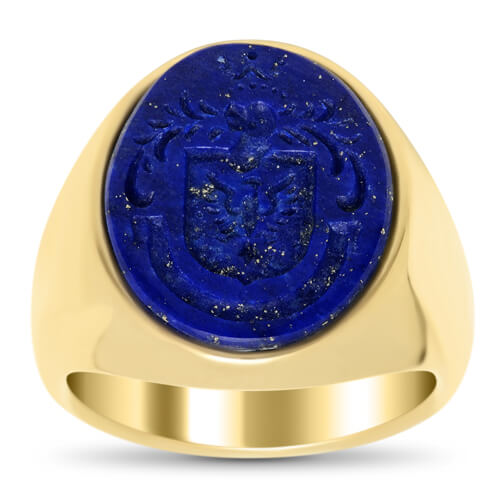 14kt Gold & Lapis Engraved Signet Ring