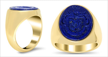 Custom Engraved Lapis and Gold Family Crest Signet Ring For Wax Seals
