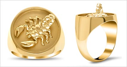 Gold signet ring with raised scorpion from deBebians