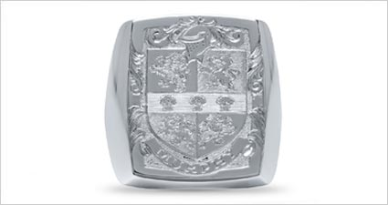 Custom silver family lion crest shield ring from deBebians