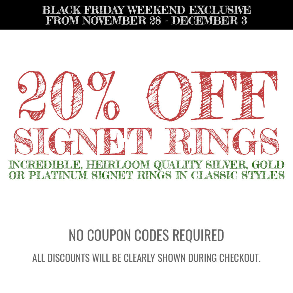 20% OFF All Mens and Womens Signet Rings