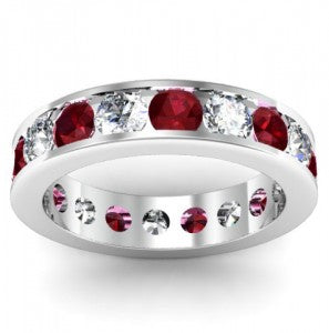 Diamond and Garnet Eternity Ring