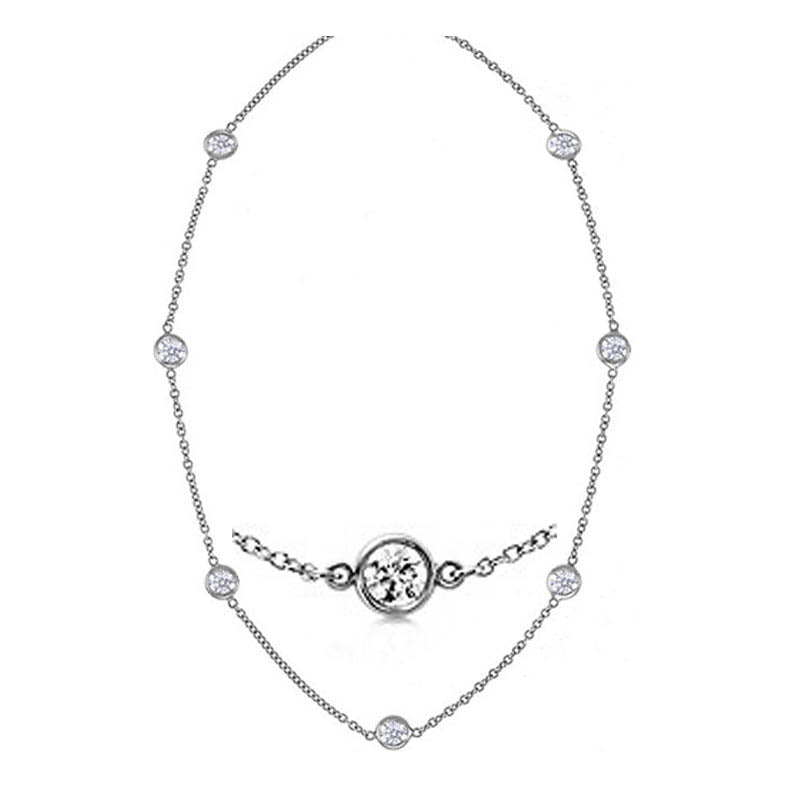 0.70 cttw 14kt white gold diamond station necklace