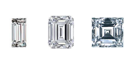 Left: Baguette diamond Middle: Emerald cut diamond Right: Carre diamond