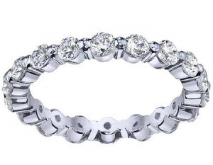 single prong diamond eternity rings