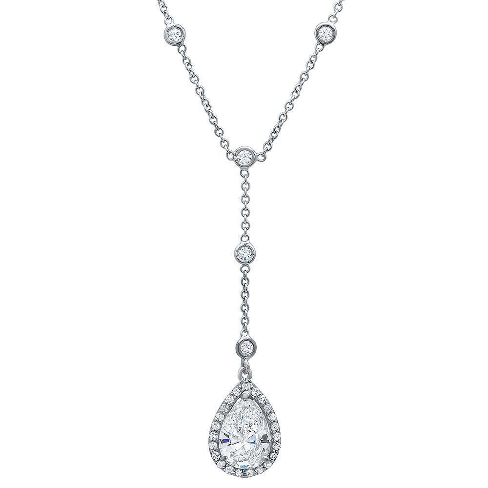 pear diamond station necklace