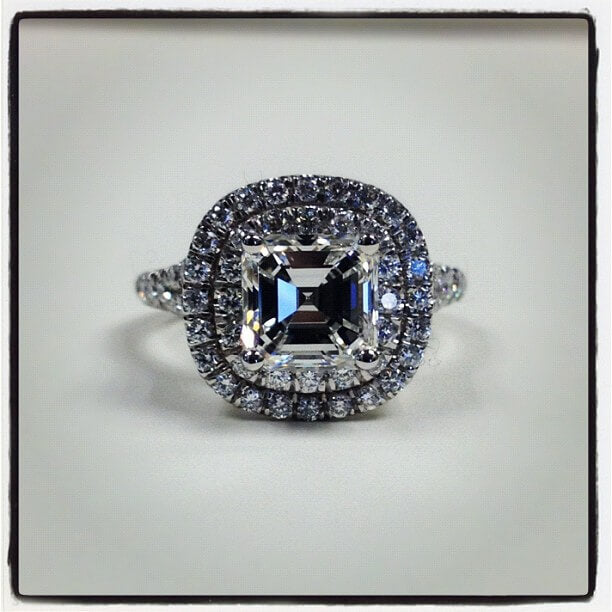 Double Halo Ring with Asscher Diamond