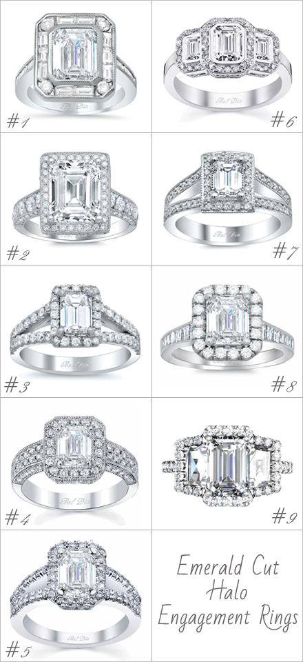 emerald cut halo engagement ring settings