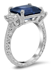 Emerald Cut GIA Sapphire Three Stone Engagement Ring