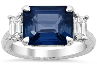 Emerald Cut Sapphire Three Stone Engagement Ring