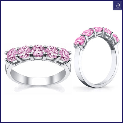 five stone pink sapphire ring