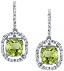Peridot Halo Drop Earrings