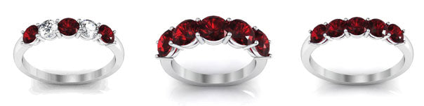 5 stone garnet and diamond ring