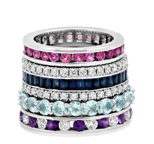 Gemstone Eternity Women's Wedding Bands
