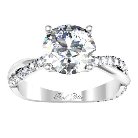 Half Pave Twisted Diamond Engagement Ring