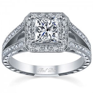 halo rings split shank hand-engraving princess cut diamond wedding