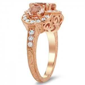 Morganite Three Stone Engagement Riing with Engraving